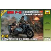3607 Звезда Немецкий мотоцикл с коляской и экипажем БМВ Р-12, 1/35