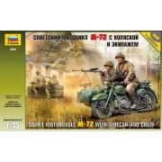 3639 Звезда Советский мотоцикл М-72 с коляской и экипажем, 1/35