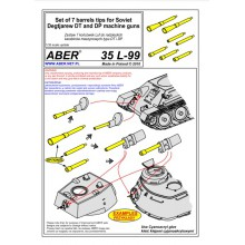 35 L-99 ABER Set of 7 barrels tips for Soviet Degtijarew DT and DP machine guns, 1/35