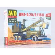 1408AVD AVD models Сборная модель Автомобильный экскаватор-кран ДКА-0,25/5 на шасси ЗИС-151, 1/43