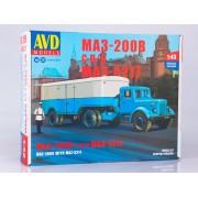 7058AVD AVD models Сборная модель МАЗ-200В с полуприцепом МАЗ-5217, 1/43