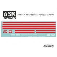 ASK35002 All Scale Kits (ASK) Декаль БТР-80/82 Военная полиция (Сирия), 1/35