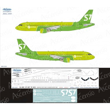 320-033 Ascensio Декаль на Airbus A320 S7 Airlines new colors 2017, 1/144