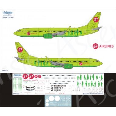 738-002 Ascensio Декаль на Boeing 737-800 S7 Airlines, 1/144