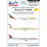AVD144-11 AviaDecals Декаль на Boing 777-300ER, 1/144