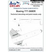 AVD144-13 AviaDecals Декаль на Boing 777-300ER технические надписи, 1/144