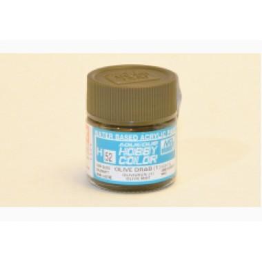 H52 Mr.Hobby OLIVE DRAB (1) (Оливковый тусклый) акрил, полуматовая 10 мл