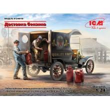 24019 ICM Доставка бензина, Развозной фургон Модель Т 1912 г. с американскими грузчиками, 1/24