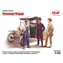 24007 ICM Команда Форда, набор фигур и автомобиль Model T 1913 Roadster, 1/24