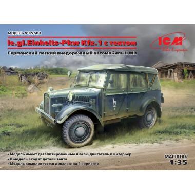 35582 ICM le.gl.Einheitz-Pkw Kfz.1 с тентом, Германский легкий внедорожный автомобиль ІІ МВ, 1/35