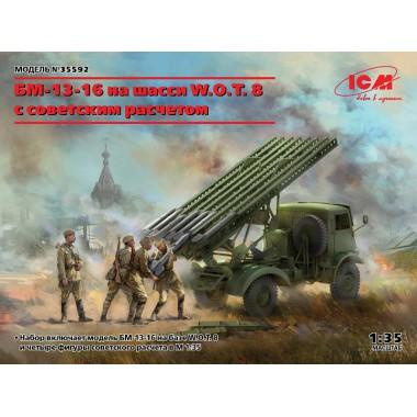 35592 ICM БМ-13-16 на шасси W.O.T. 8 c cоветским расчетом, 1/35