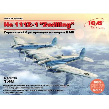 48260 ICM He 111Z-1 Zwilling, WWII German Glider Tug, Германский буксировщик планеров II МВ, 1/48