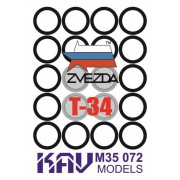 KAV M35 072 KAV-models Окрасочная маска на бандажи Т-34 (Звезда), 1/35