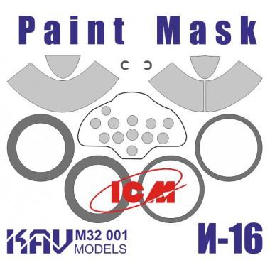 KAV M32 001 KAV-models Окрасочная маска на И-16 тип 24 (ICM), 1/32