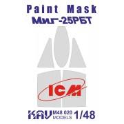 KAV M48 020 KAV-models Окрасочная маска на остекление МиГ-25РБТ (ICM), 1/48