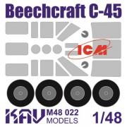 KAV M48 025 KAV-models Окрасочная маска на Beechcraft Model 18 (ICM) все версии, 1/48
