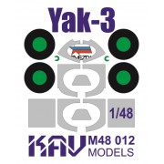 KAV M48 012 KAV-models Окрасочная маска на остекление Як-3 (Звезда), 1/48