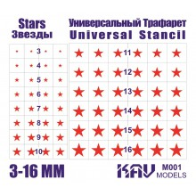 KAV M001 KAV-models Окрасочная маска Звезды - Универсальный трафарет