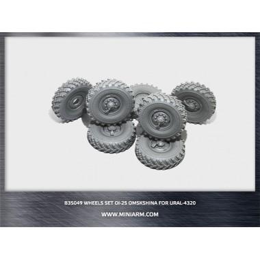 B35049 Miniarm Набор колес ОИ-25  (Омскшина) для автомобиля Урал- 4320 (6шт плюс запаска), 1/35