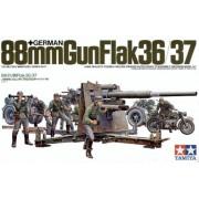 35017 Tamiya Немецкая 88-мм пушка Flak 36/37, мотоцикл и 8 фигур, 1/35