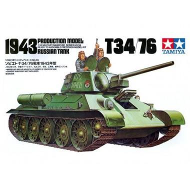 35059 Tamiya Советский танк Т34/76 (с 2-мя наборами катков) с 2 фигурами танкистов, 1/35
