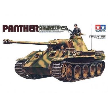 35065 Tamiya Средний танк Panther (Sd.kfz.171) Ausf.А с 75 мм пушкой и пулемётом KWK42 (2 фигурами танкистов), 1/35