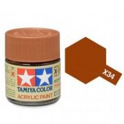 81534 Tamiya X-34 Metal brown (коричневый металлик) акрил, глянцевая 10 мл